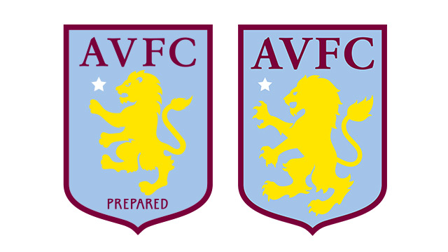 Villa's old badge (left) and new, right